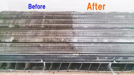 エアコン内部のお掃除前後の比較