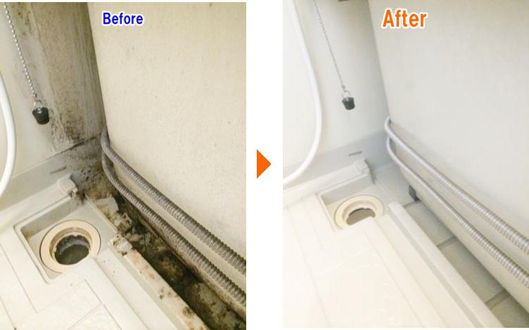 お風呂の排水溝のお掃除前後の比較