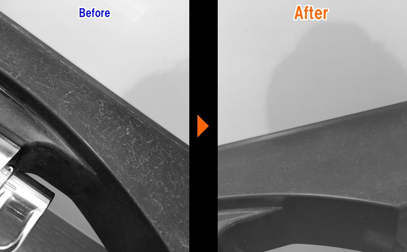 洗面台の蛇口のお掃除前後の比較