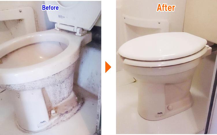 便器・便座のお掃除前後の比較