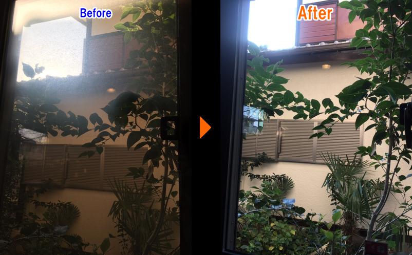 窓のヤニ汚れ除去Before-After