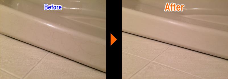浴室の床掃除 before after