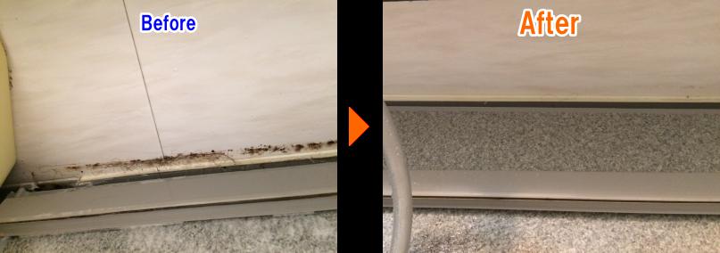 お風呂の床周りの側溝のお掃除before After