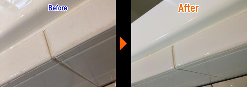 お風呂のタイルの水垢掃除before after